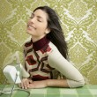 Retro air fan woman vintage sixties wallpaper — Stock Photo #5498756