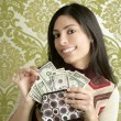 Retro purse dollar woman vintage wallpaper — Stock Photo