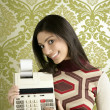 Retro accountant woman calculator wallpaper - Stock Photo