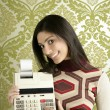 Retro accountant woman calculator wallpaper - Stockfoto