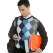 Student with bag, phone and books going school — Stock Photo