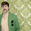 Eccentric retro mustache geek man salesperson - Stock Photo