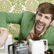 Geek retro man drinking tea coffee vintage teapot — Stock Photo #5499294