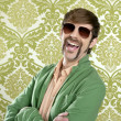 Geek retro salesperson man funny mustache — Stockfoto