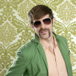Geek retro salesperson man funny mustache — Stock Photo