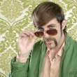 Geek retro salesperson man funny mustache - Stock Photo