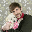 Geek retro man holding dog silly on wallpaper — Foto Stock