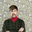 Mustache retro salesman geek portrait - Stockfoto