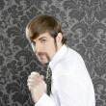 homme d'affaires agressif moustache rétro drôle — Photo