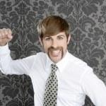 Aggressive funny retro mustache businessman — Stock Photo #5499322