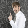 Point finger retro businessman salesperson — Stockfoto