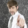 Royalty-Free Stock Photo: Point finger retro businessman salesperson