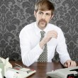 Retro mustache businessman office desk — Stock Photo