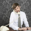 Retro mustache multitask businessman office desk — Stock Photo