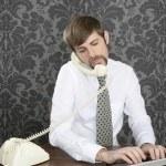 bigode retro multitask mesa de escritório de empresário — Fotografia Stock  #5499334