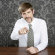 Businessman retro on office table salesperson — Stock Photo