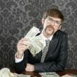 Businessman nerd accountant dollar notes — Stockfoto