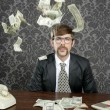 Nerd businessman retro office flying dollar note — Stockfoto