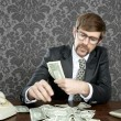 Businessman nerd accountant dollar notes - Stock Photo