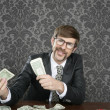 Businessman nerd accountant dollar notes — Stock Photo