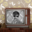 Stock Photo: Nerd retro 60s vintage wooden tv presenter