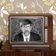 Nerd retro 60s vintage wooden tv presenter - Stock Photo