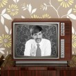 Retro tv presenter mustache man wood television — Стоковое фото