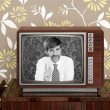 Retro tv presenter mustache man wood television — Stock Photo