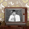 Stock Photo: retro tv presenter mustache man wood television