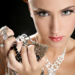 Ambition and greed in fashion woman with jewelry — Stockfoto