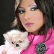 Fashion doll womn with chihuahua dog pink 1980s — Stock Photo