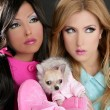 Fashion doll women with chihuahua dog pink 1980s - Stock Photo