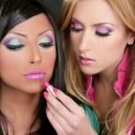 muchachas de la manera de lápiz labial maquillaje muñeca barbie retro de los años ochenta — Foto de Stock   #5499450