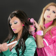Fashion hairdresser hair iron pink barbie 1980s - Stockfoto