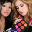 Eyeshadow makeup palette brush fashion barbie girls - Stock Photo