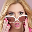 Fashion barbie doll style blode girl pink makeup - Stock Photo