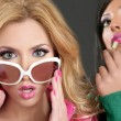 Fashion barbie doll style girls pink lipstip makeup - Stock Photo