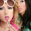 Fashion barbie doll style girls pink lipstip makeup — Stock Photo #5499466