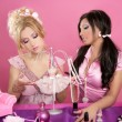 Barbie doll girls pink vanity table fashion designer - Stock Photo