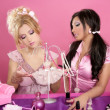 Barbie doll girls pink vanity table fashion designer — Stock Photo