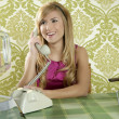 Retro vintage woman kitchen talking phone smiling — Stock Photo