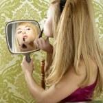 Retro mirror makeup woman lipstick vintage — Stock Photo