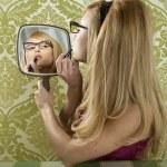 Retro mirror makeup woman lipstick vintage — Stock Photo #5499498