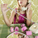Retro housewife telephone woman vintage wallpapaper — Stock Photo #5499500