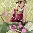 Retro housewife telephone woman vintage wallpapaper — Stock Photo #5499501