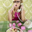 Retro housewife telephone woman vintage wallpapaper — Stock fotografie