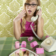 Stock Photo: Retro housewife telephone womvintage wallpapaper