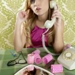 Retro housewife telephone woman vintage wallpapaper — Stock Photo #5499507