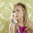 Retro telephone woman vintage wallpaper — Stock Photo #5499509
