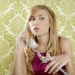 Retro telephone woman vintage wallpaper — Stock Photo #5499510